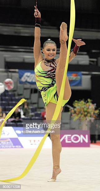 Alina Kabaeva of Russia competes in the Ribbon discipline during day one of the Rhythmic Gymnastics World Cup at Sun Arena on November 15 2006 in Ise...