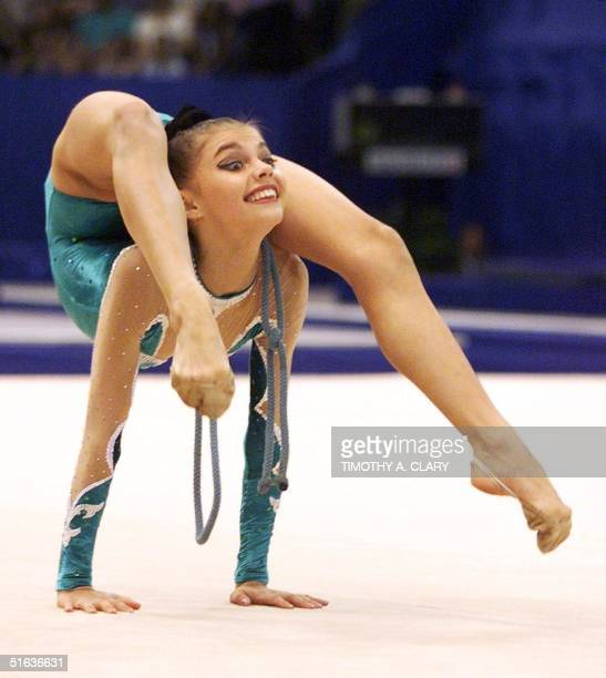 Alina Kabayeva of Russia performs her silver medal rope routine during the rhythmic gymnastic individual exercise final competition at the 1998...