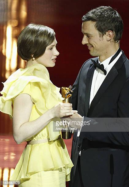 Alina Levshin and Florian David Fitz talk onstage after she received the Award as 'Best Actress' at the Lola German Film Award 2012 Show at...