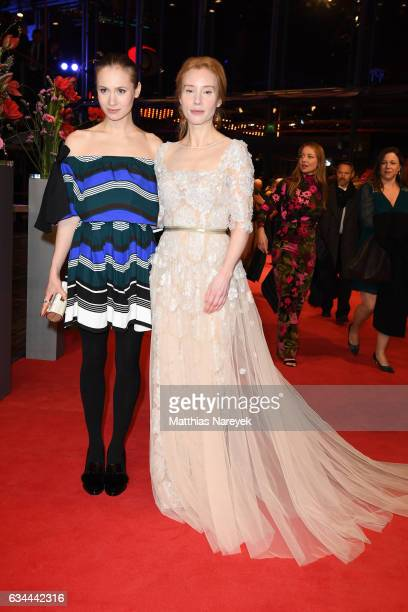 Alina Levshin and Franziska Petr attend the 'Django' premiere during the 67th Berlinale International Film Festival Berlin at Berlinale Palace on...