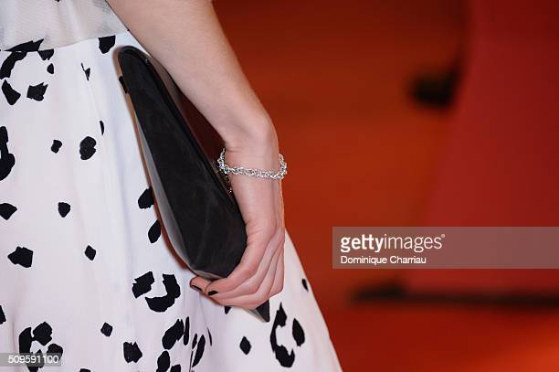Alina Levshinfashion detail attends the 'Hail Caesar' premiere during the 66th Berlinale International Film Festival Berlin at Berlinale Palace on...