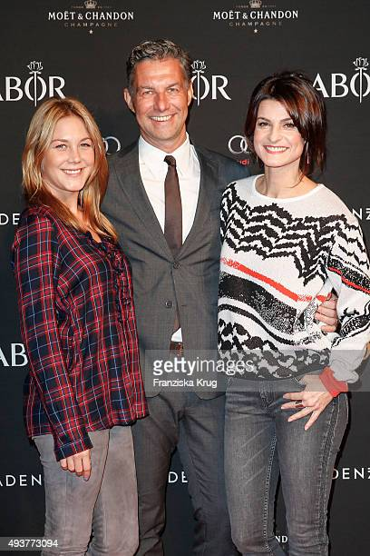 Alina Merkau Michael Schummert and Marlene Lufen attend the BABOR Opening Cocktail on October 22 2015 in Berlin Germany