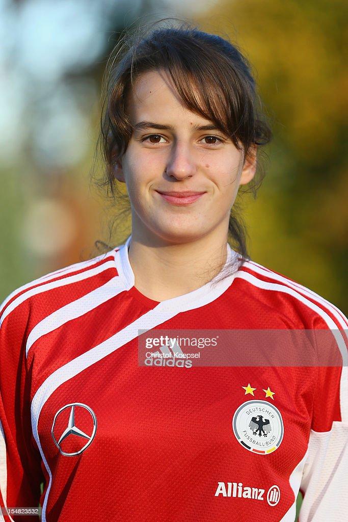 Alina Ortega Jurado poses during the Germany Women's U17 team presentation at Sport School Wedau on October 27, 2012 in Duisburg, Germany.