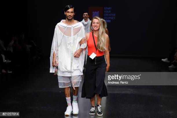 Alina Perhoefer acknowledges the aplause of the audience at the end of the AMD Exit17_2 show during Platform Fashion July 2017 at Areal Boehler on...