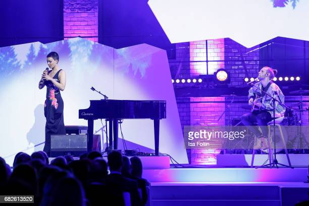 Alina Sueggeler and Andi Weizel of the band 'Frida Gold' perform at the GreenTec Awards Show at ewerk on May 12 2017 in Berlin Germany