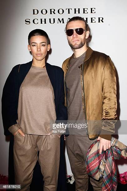 Alina Sueggeler and Andreas Weizel attend the Dorothee Schumacher show during the MercedesBenz Fashion Week Berlin Autumn/Winter 2015/16 at Villa...