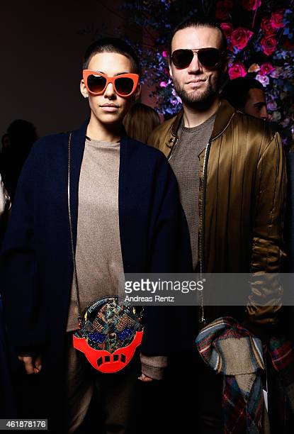 Alina Sueggeler and Andreas Weizel pose backstage after the Dorothee Schumacher show during the MercedesBenz Fashion Week Berlin Autumn/Winter...