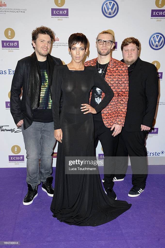 <a gi-track='captionPersonalityLinkClicked' href=/galleries/search?phrase=Alina+Sueggeler&family=editorial&specificpeople=7537575 ng-click='$event.stopPropagation()'>Alina Sueggeler</a> and band attend the Echo Award 2013 at Palais am Funkturm on March 21, 2013 in Berlin, Germany.