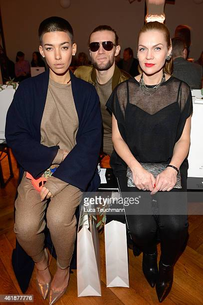 Alina Sueggeler Andreas Weizel and Anna Loos attend the Dorothee Schumacher show during the MercedesBenz Fashion Week Berlin Autumn/Winter 2015/16 at...