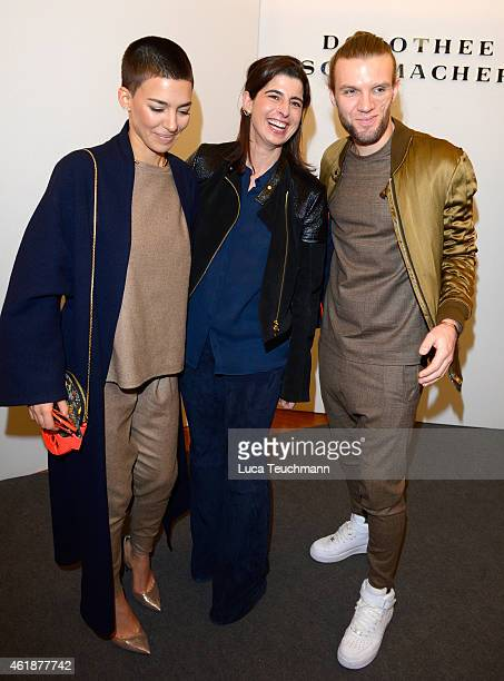 Alina Sueggeler Andreas Weizel and Dorothee Schumacher attend the Dorothee Schumacher show during the MercedesBenz Fashion Week Berlin Autumn/Winter...