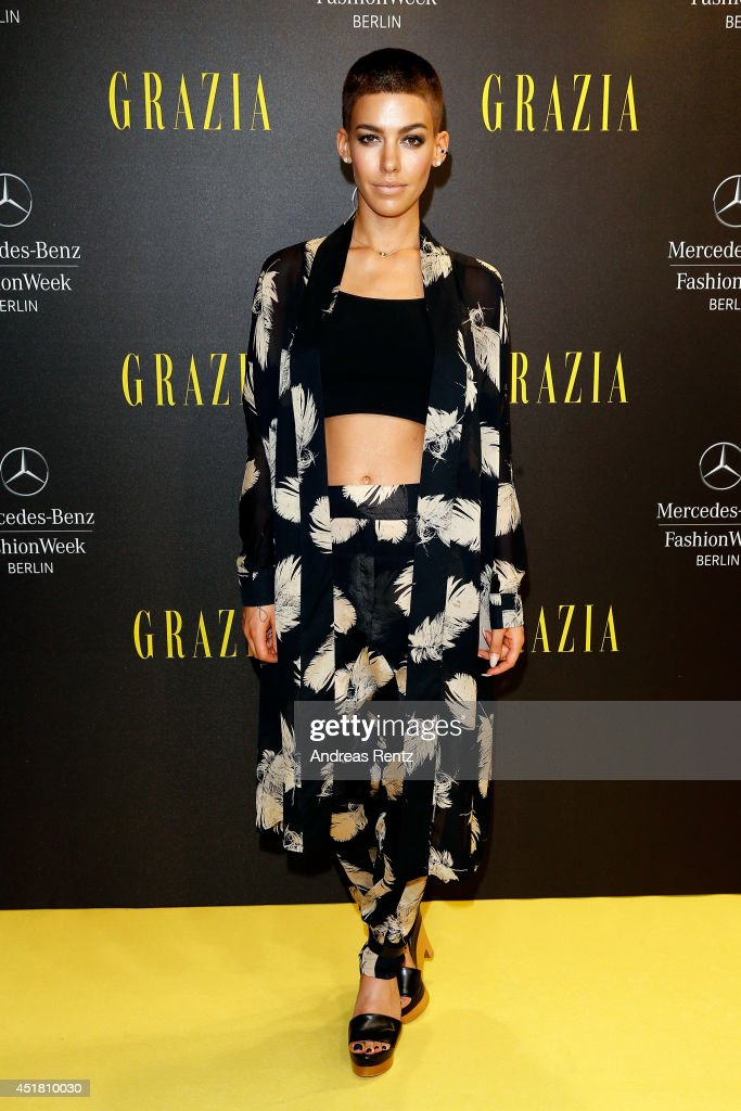 Alina Sueggeler arrives for the Opening Night by Grazia fashion show during the Mercedes-Benz Fashion Week Spring/Summer 2015 at Erika Hess Eisstadion on July 7, 2014 in Berlin, Germany.