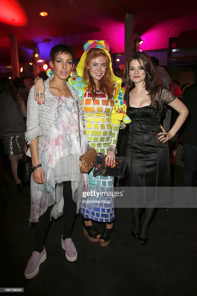 Alina Sueggeler, Palina Rojinski and Elisa Schmidt attend the 'Michalsky Style Nite After Show Party - Mercesdes-Benz Fashion Week Autumn/Winter 2013/14' at Tempodrom on January 18, 2013 in Berlin, Germany.