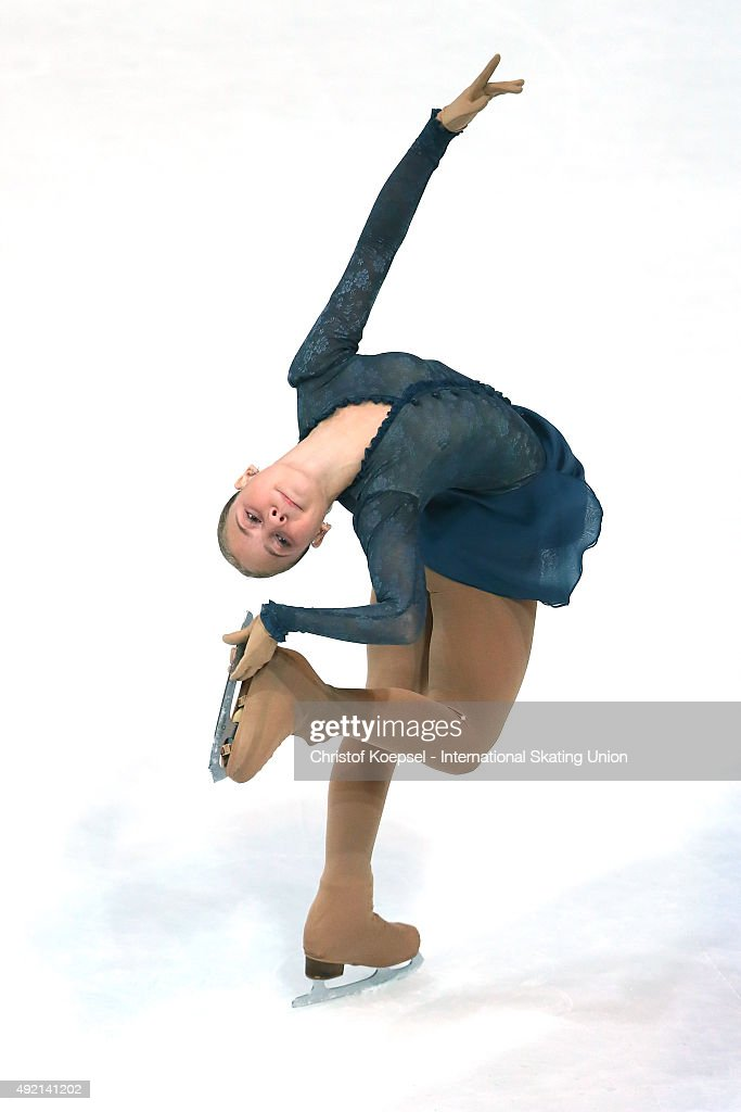 Alina Sydkova of Kazachstan skates during the junior ladies free skating of the ISU Junior Grand Prix at Dom Sportova on October 10 2015 in Zagreb...