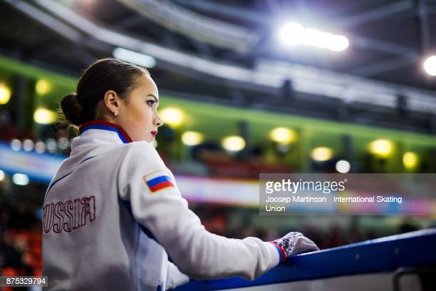 Alina Zagitova of Russia looks on in the Ladies Short Program during day one of the ISU Grand Prix of Figure Skating at Polesud Ice Skating Rink on...