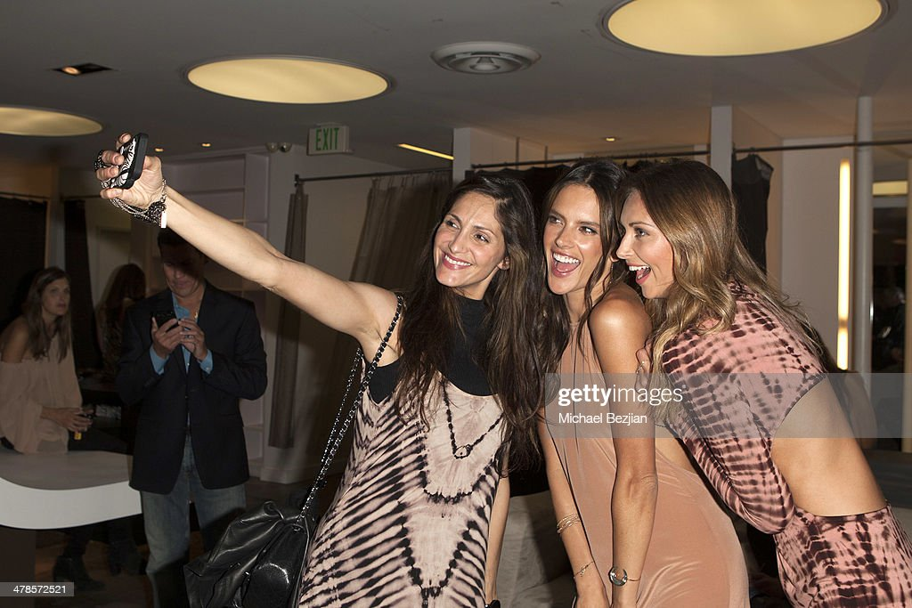 Aline Ambrosio, <a gi-track='captionPersonalityLinkClicked' href=/galleries/search?phrase=Alessandra+Ambrosio&family=editorial&specificpeople=203062 ng-click='$event.stopPropagation()'>Alessandra Ambrosio</a>, and designer Ludi Delfino pose at <a gi-track='captionPersonalityLinkClicked' href=/galleries/search?phrase=Alessandra+Ambrosio&family=editorial&specificpeople=203062 ng-click='$event.stopPropagation()'>Alessandra Ambrosio</a> Launch of 'ale by Alessandra' at Planet Blue in Beverly Hills on March 13, 2014 in Los Angeles, California.
