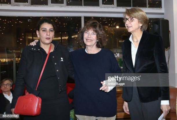 Aline Arlettaz Jane Birkin and French ambassador AnneMarie Descotes attend the 'Actrices' exhibition opening at the Institut Francais on December 2...