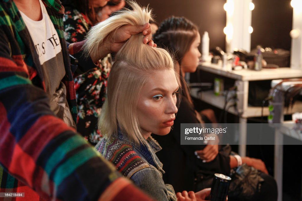 Aline Weber backstage at the Triton show during Sao Paulo Fashion Week Summer 2013/2014 on March 20, 2013 in Sao Paulo, Brazil.