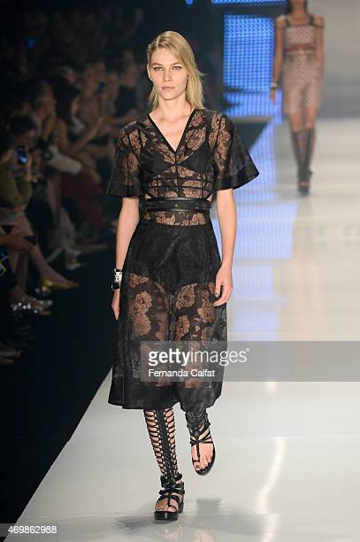 Aline Weber walks the runway during the Colcci show at SPFW Summer 2016 at Parque Candido Portinari on April 15 2015 in Sao Paulo Brazil