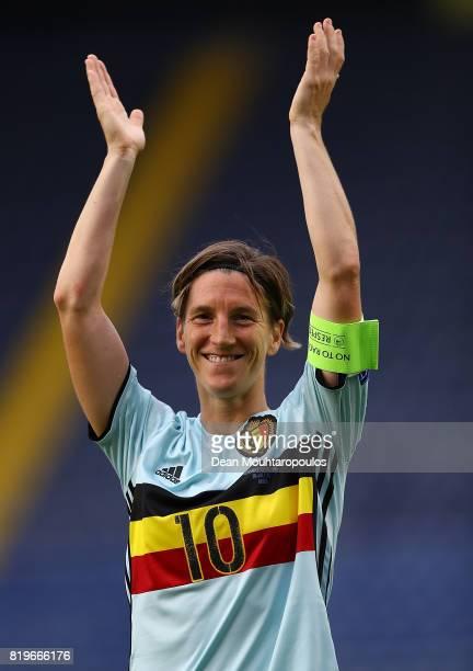 Aline Zeler of Belgium applauds the fans following the UEFA Women's Euro 2017 Group A match between Norway and Belgium at Rat Verlegh Stadion on July...