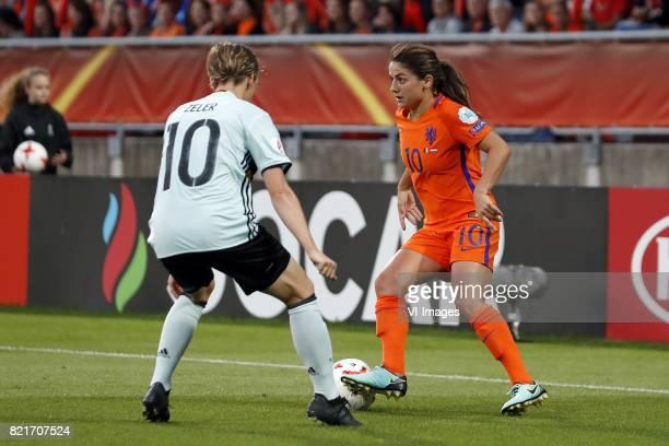 Aline Zeler of Belgium women Danielle van de Donk of Holland Women during the UEFA WEURO 2017 Group A group stage match between Belgium and The...