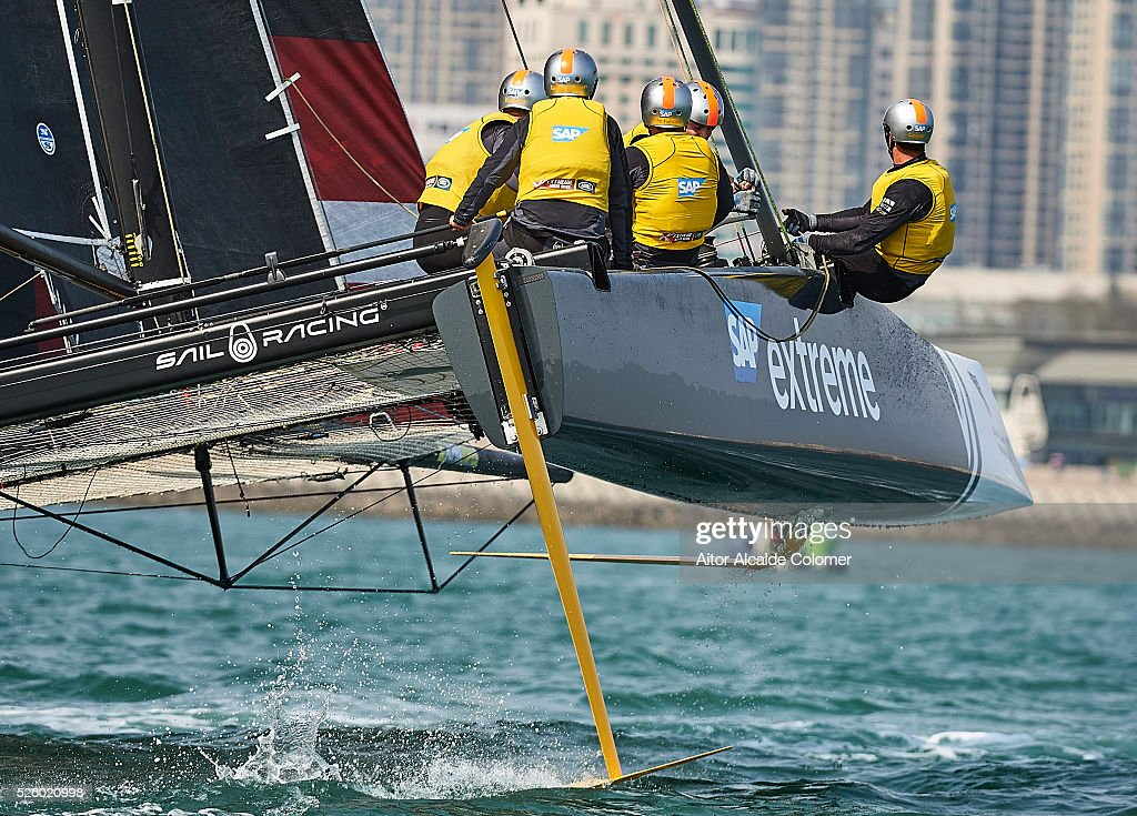 Alinghi Extreme Sailing Team foiling catamaran skippered by <a gi-track='captionPersonalityLinkClicked' href=/galleries/search?phrase=Ernesto+Bertarelli&family=editorial&specificpeople=617738 ng-click='$event.stopPropagation()'>Ernesto Bertarelli</a> (SUI) with tactician <a gi-track='captionPersonalityLinkClicked' href=/galleries/search?phrase=Nicolas+Charbonnier&family=editorial&specificpeople=5486895 ng-click='$event.stopPropagation()'>Nicolas Charbonnier</a> (FRA), Mainsail trimmer Arnaud Psarofaghis (SUI), Headsail trimmer Nils Frei (SUI) and bowman Yves Detrey (SUI) competes during the Extreme Sailing Series Qingdao 2016 on April 29, 2016 in Qingdao, China.