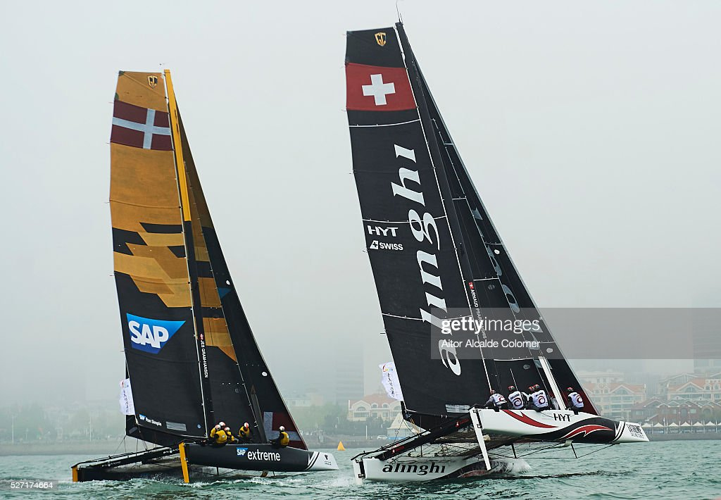 Alinghi Extreme Sailing Team skippered by skippered by Ernesto Bertarelli (SUI) with tactician Nicolas Charbonnier (FRA), Mainsail trimmer Arnaud Psarofaghis (SUI). Headsail trimmer Nils Frei (SUI) and bowman Yves Detrey (SUI) compete during the Extreme Sailing Series Qingdao 2016 on May 02, 2016 in Qingdao, China.