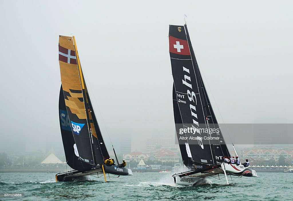 Alinghi Extreme Sailing Team skippered by skippered by <a gi-track='captionPersonalityLinkClicked' href=/galleries/search?phrase=Ernesto+Bertarelli&family=editorial&specificpeople=617738 ng-click='$event.stopPropagation()'>Ernesto Bertarelli</a> (SUI) with tactician <a gi-track='captionPersonalityLinkClicked' href=/galleries/search?phrase=Nicolas+Charbonnier&family=editorial&specificpeople=5486895 ng-click='$event.stopPropagation()'>Nicolas Charbonnier</a> (FRA), Mainsail trimmer Arnaud Psarofaghis (SUI). Headsail trimmer Nils Frei (SUI) and bowman Yves Detrey (SUI) compete during the Extreme Sailing Series Qingdao 2016 on May 02, 2016 in Qingdao, China.