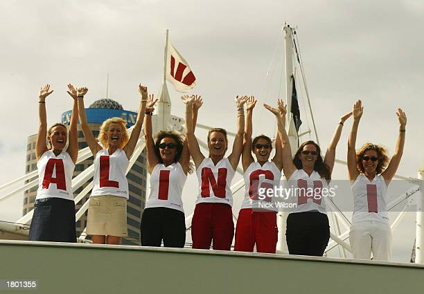 Alinghi fans including wife of Alinghi Syndicate head Ernesto Bertarelli Kirsty Bertarelli show their support before race 3 of the America's Cup...