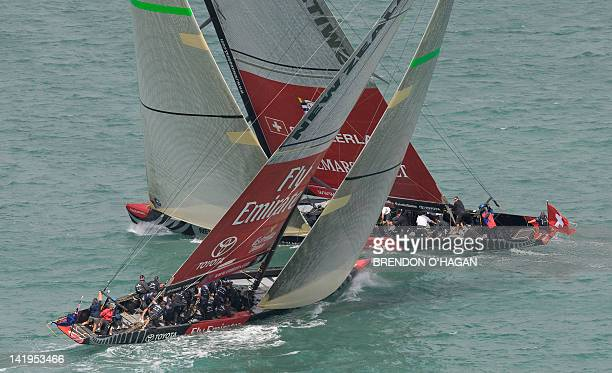 Alinghi from Swizerland races against Emirates Team New Zealand in the first of the finals of the Challenger series of the Louis Vuitton Pacific Cup...