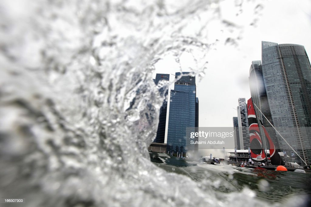 Alinghi in action during day one of the Extreme Sailing Series at Marina Bay Reservoir on April 11, 2013 in Singapore.