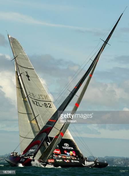 Alinghi lead Team New Zealand around the bottom mark during Race Five of the America's Cup between Team New Zealand and Alinghi of Switzerland on the...