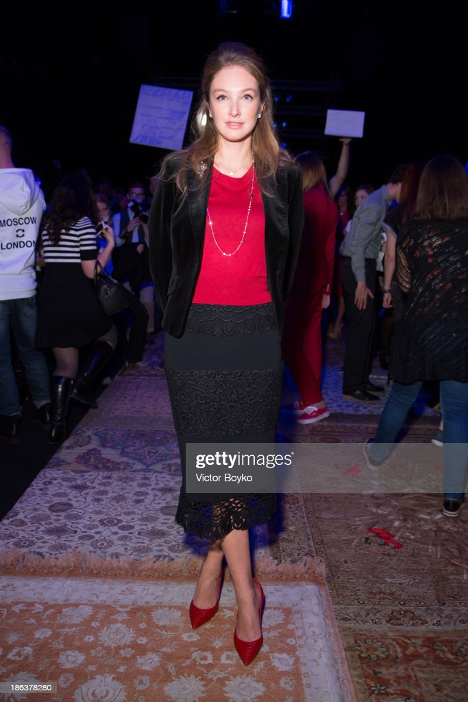 Aliona Peneva attends the Alena Akhmadullina show on day 6 of Mercedes-Benz Fashion Week S/S 14 on October 30, 2013 in Moscow, Russia.
