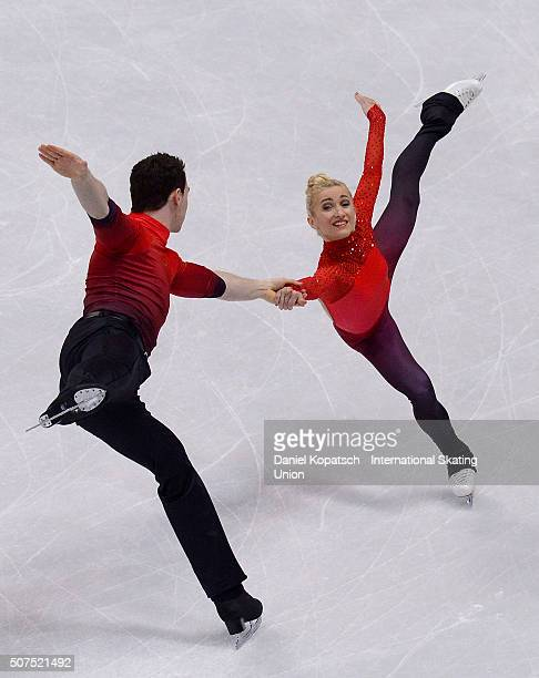 Aliona Savchenko and Bruno Massot of Germany perform during Pairs Free Skating on day four of the ISU European Figure Skating Champinships 2016 on...
