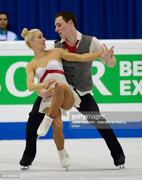 Aliona Savchenko and Bruno Massot of Germany perform during the Pairs Short Program during day three of the ISU European Figure Skating Championships...