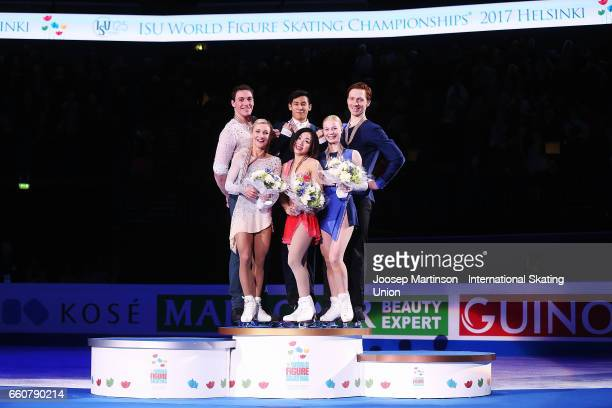 Aliona Savchenko and Bruno Massot of Germany Wenjing Sui and Cong Han of China Evgenia Tarasova and Vladimir Morozov of Russia pose in the Pairs...