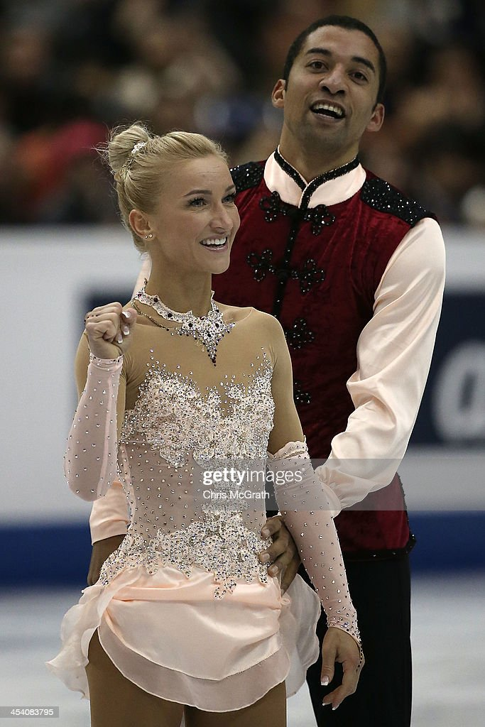 <a gi-track='captionPersonalityLinkClicked' href=/galleries/search?phrase=Aliona+Savchenko&family=editorial&specificpeople=247200 ng-click='$event.stopPropagation()'>Aliona Savchenko</a> and <a gi-track='captionPersonalityLinkClicked' href=/galleries/search?phrase=Robin+Szolkowy&family=editorial&specificpeople=247243 ng-click='$event.stopPropagation()'>Robin Szolkowy</a> of Germany celebrate afer their routine in the Pairs Free Skating Final during day three of the ISU Grand Prix of Figure Skating Final 2013/2014 at Marine Messe Fukuoka on December 7, 2013 in Fukuoka, Japan.