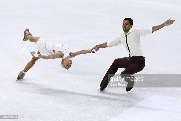 Aliona Savchenko and Robin Szolkowy of Germany compete during the Pairs Free Skate during the 2010 ISU World Figure Skating Championships on March 24...