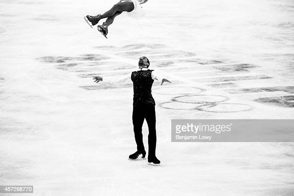 Aliona Savchenko and Robin Szolkowy of Germany compete in the Figure Skating Pairs Free Skating during day five of the 2014 Sochi Olympics at Iceberg...