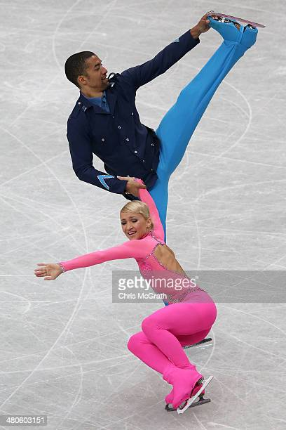 Aliona Savchenko and Robin Szolkowy of Germany compete in the Pairs Short Program during ISU World Figure Skating Championships at Saitama Super...