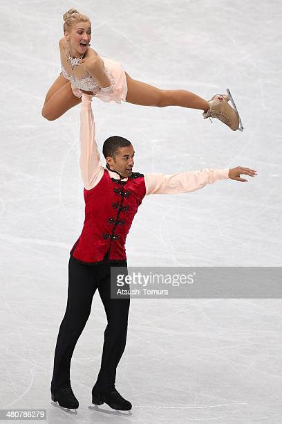 Aliona Savchenko and Robin Szolkowy of Germany compete in the Pairs Free Program during ISU World Figure Skating Championships at Saitama Super Arena...