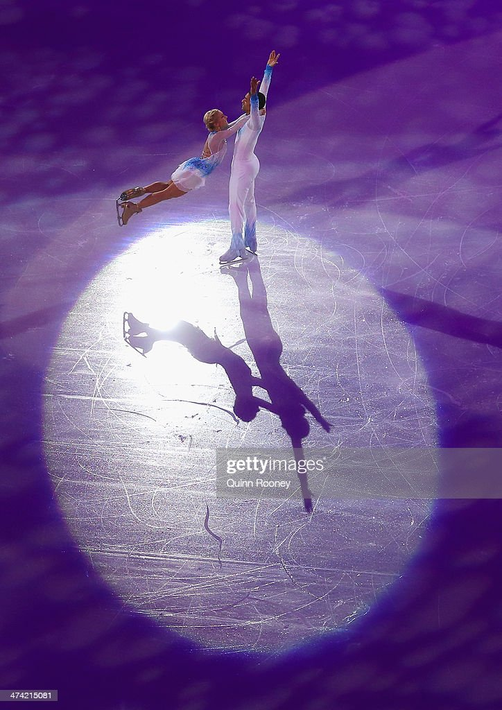 <a gi-track='captionPersonalityLinkClicked' href=/galleries/search?phrase=Aliona+Savchenko&family=editorial&specificpeople=247200 ng-click='$event.stopPropagation()'>Aliona Savchenko</a> and <a gi-track='captionPersonalityLinkClicked' href=/galleries/search?phrase=Robin+Szolkowy&family=editorial&specificpeople=247243 ng-click='$event.stopPropagation()'>Robin Szolkowy</a> of Germany perform during the Figure Skating Exhibition Gala on Day 15 of the Sochi 2014 Winter Olympics at Iceberg Skating Palace on February 22, 2014 in Sochi, Russia.