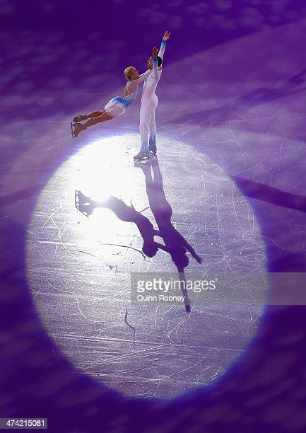 Aliona Savchenko and Robin Szolkowy of Germany perform during the Figure Skating Exhibition Gala on Day 15 of the Sochi 2014 Winter Olympics at...