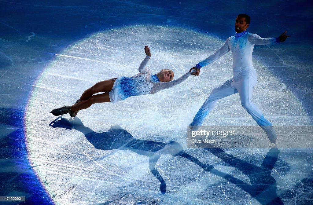 Aliona Savchenko and Robin Szolkowy of Germany perform during the Figure Skating Exhibition Gala at Iceberg Skating Palace on February 22 2014 in...