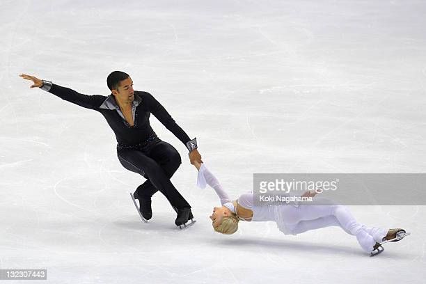 Aliona Savchenko and Robin Szolkowy of Germany perform in the pairs program during day one of the ISU Grand Prix of Figure Skating NHK Trophy at...
