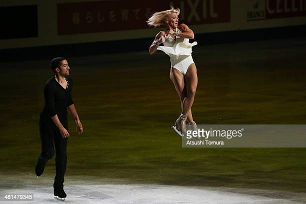 Aliona Savchenko and Robin Szolkowy of Germany perform their routine in the exhibition during ISU World Figure Skating Championships at Saitama Super...