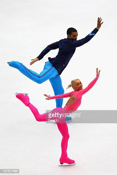 Aliona Savchenko and Robin Szolkowy of Germany skate in the Pairs Free Skating during ISU Grand Prix and Junior Grand Prix Final at Beijing Capital...
