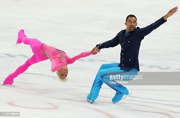 Aliona Savchenko and Robin Szolkowy of Germany skate in the pairs free skating during day five of the 2011 World Figure Skating Championships at...