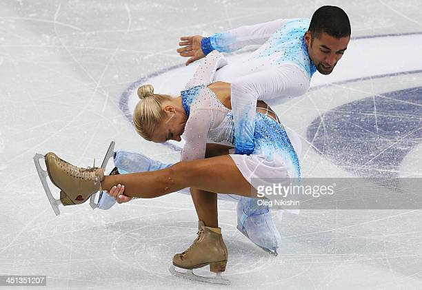 Aliona Savchenko and Robin Szolkowy of Germany skates in the Pairs Short Program during ISU Rostelecom Cup of Figure Skating 2013 on November 22 2013...
