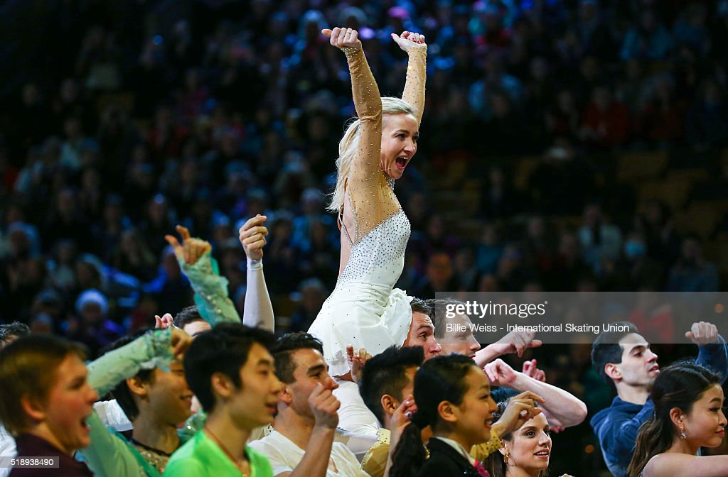 Aliona Savchenko of Germany performs with fellow skaters during the exhibition of champions during Day 7 of the ISU World Figure Skating Championships 2016 at TD Garden on April 3, 2016 in Boston, Massachusetts.