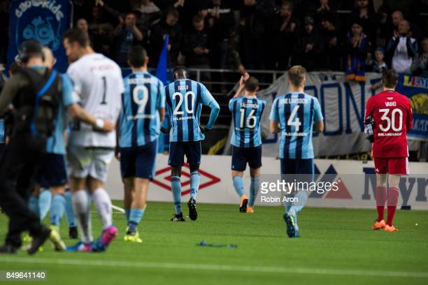 Aliou Badji of Djurgardens IF and his teammates dejected after the Allsvenskan match between IF Elfsborg and Djurgardens IF at Boras Arena on...